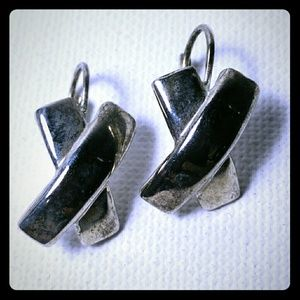Silver Tone X Kisses Hook Earrings Pierced
